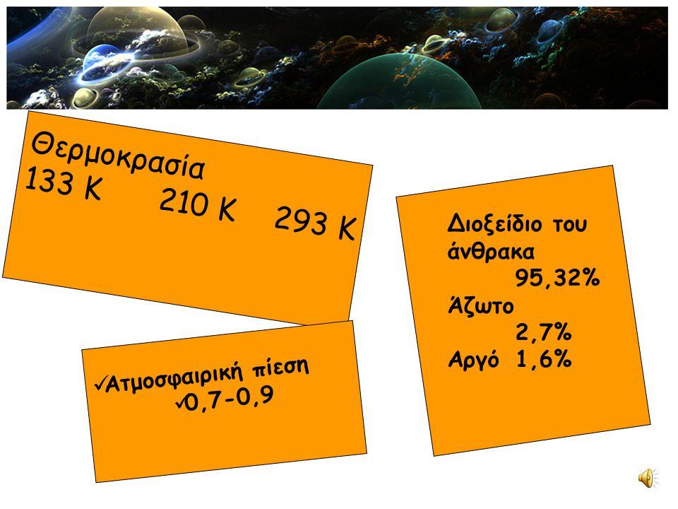 Θερμοκρασία 133 K210 K293 K Ατμοσφαιρική πίεση 0,7-0,9 Διοξείδιο του άνθρακα 95,32% Άζωτο 2,7% Αργό1,6%