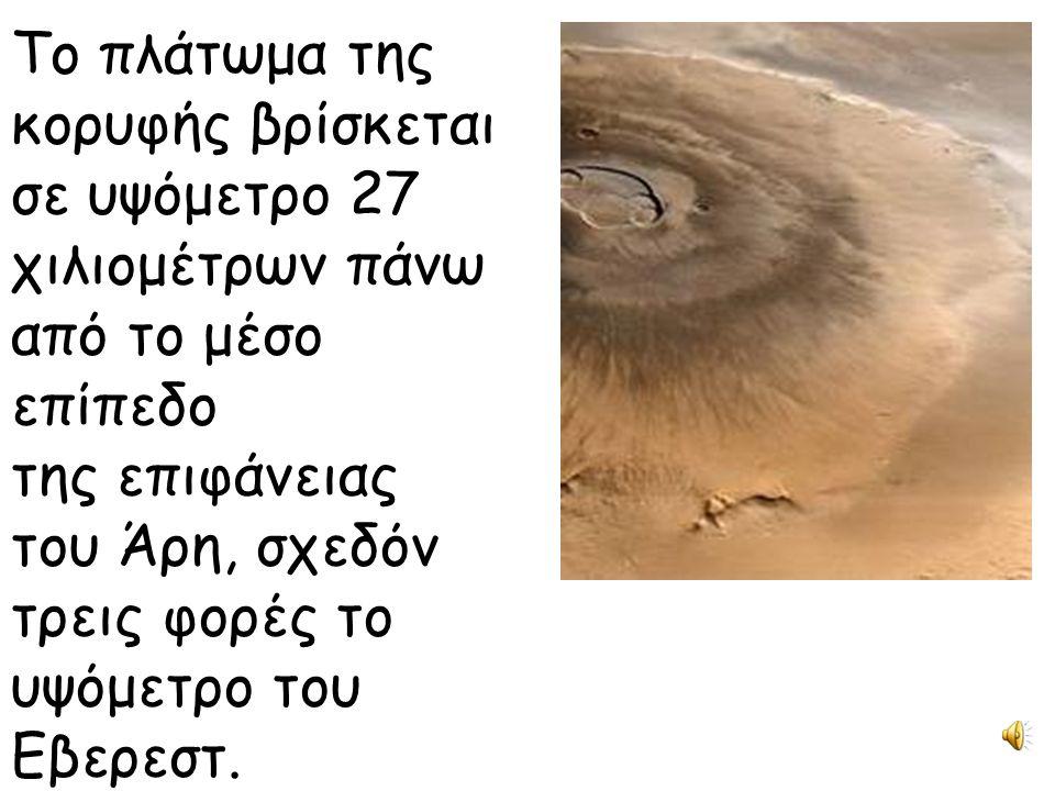 Το πλάτωμα της κορυφής βρίσκεται σε υψόμετρο 27 χιλιομέτρων πάνω από το μέσο επίπεδο της επιφάνειας του Άρη, σχεδόν τρεις φορές το υψόμετρο του Εβερεσ
