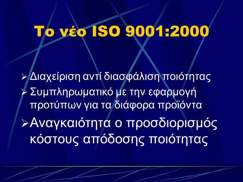 Το νέο ISO 9001:2000  Διαχείριση αντί διασφάλιση ποιότητας  Συμπληρωματικό με την εφαρμογή προτύπων για τα διάφορα προϊόντα  Αναγκαιότητα ο προσδιορισμός κόστους απόδοσης ποιότητας