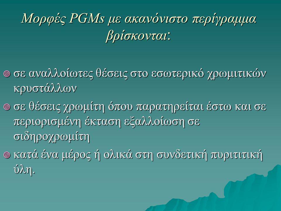 Μορφές PGMs με ακανόνιστο περίγραμμα βρίσκονται :  σε αναλλοίωτες θέσεις στο εσωτερικό χρωμιτικών κρυστάλλων  σε θέσεις χρωμίτη όπου παρατηρείται έσ