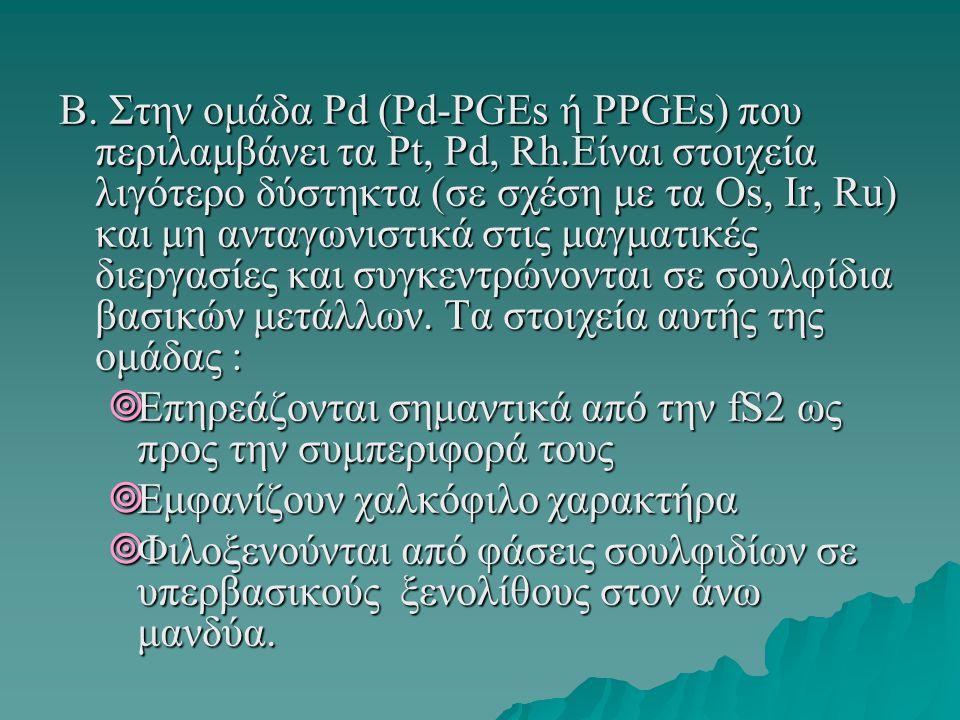Β. Στην ομάδα Pd (Pd-PGEs ή PPGEs) που περιλαμβάνει τα Pt, Pd, Rh.Είναι στοιχεία λιγότερο δύστηκτα (σε σχέση με τα Os, Ir, Ru) και μη ανταγωνιστικά στ
