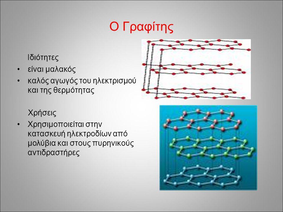 Ο Γραφίτης Ιδιότητες είναι μαλακός καλός αγωγός του ηλεκτρισμού και της θερμότητας Χρήσεις Χρησιμοποιείται στην κατασκευή ηλεκτροδίων από μολύβια και στους πυρηνικούς αντιδραστήρες