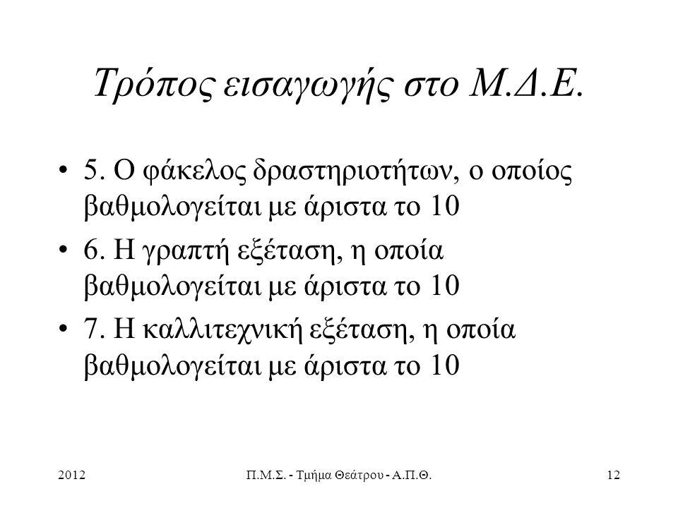 2012Π.Μ.Σ. - Τμήμα Θεάτρου - Α.Π.Θ.12 Τρόπος εισαγωγής στο Μ.Δ.Ε.