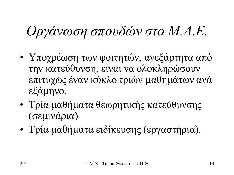 2012Π.Μ.Σ. - Τμήμα Θεάτρου - Α.Π.Θ.14 Οργάνωση σπουδών στο Μ.Δ.Ε.