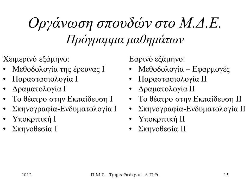 2012Π.Μ.Σ. - Τμήμα Θεάτρου - Α.Π.Θ.15 Οργάνωση σπουδών στο Μ.Δ.Ε.