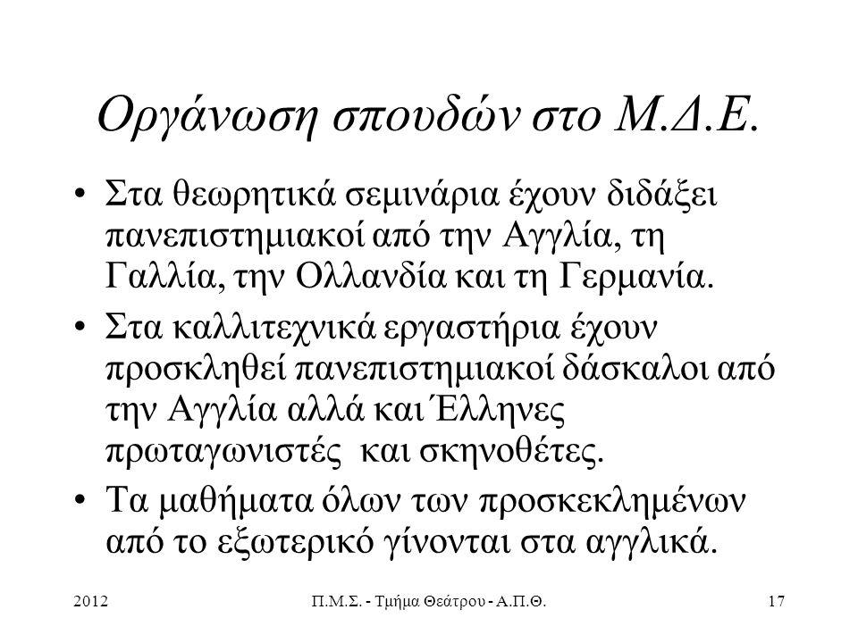 2012Π.Μ.Σ. - Τμήμα Θεάτρου - Α.Π.Θ.17 Οργάνωση σπουδών στο Μ.Δ.Ε.