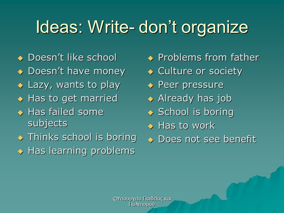 Ideas: Write- don't organize  Doesn't like school  Doesn't have money  Lazy, wants to play  Has to get married  Has failed some subjects  Thinks
