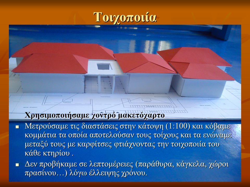Σκεπή Το πιο δύσκολο κομμάτι της μακέτας ήταν η κατασκευή των σκεπών των κτηρίων.