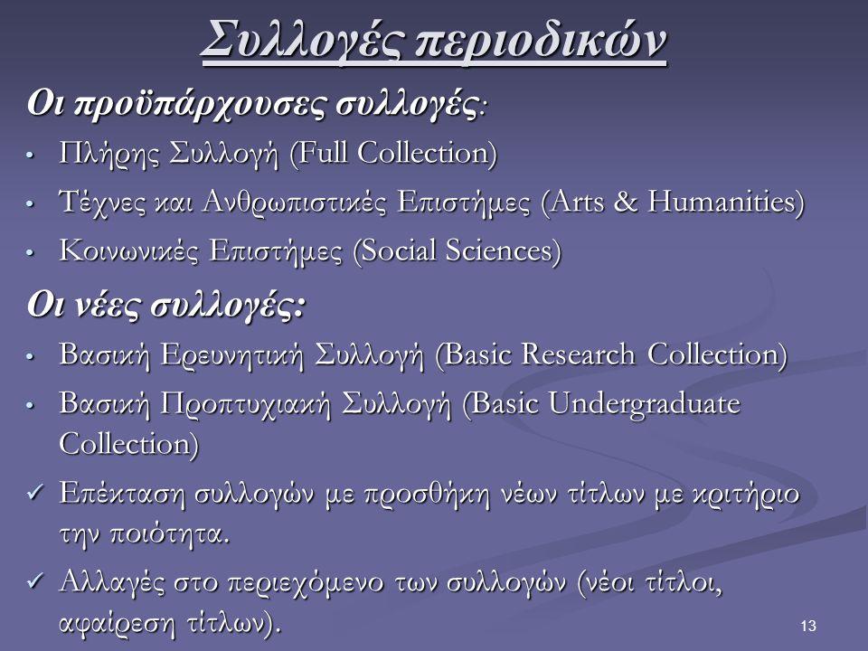 13 Συλλογές περιοδικών Οι προϋπάρχουσες συλλογές : Πλήρης Συλλογή (Full Collection) Πλήρης Συλλογή (Full Collection) Τέχνες και Ανθρωπιστικές Επιστήμες (Arts & Humanities) Τέχνες και Ανθρωπιστικές Επιστήμες (Arts & Humanities) Κοινωνικές Επιστήμες (Social Sciences) Κοινωνικές Επιστήμες (Social Sciences) Οι νέες συλλογές: Βασική Ερευνητική Συλλογή (Basic Research Collection) Βασική Ερευνητική Συλλογή (Basic Research Collection) Βασική Προπτυχιακή Συλλογή (Basic Undergraduate Collection) Βασική Προπτυχιακή Συλλογή (Basic Undergraduate Collection) Επέκταση συλλογών με προσθήκη νέων τίτλων με κριτήριο την ποιότητα.
