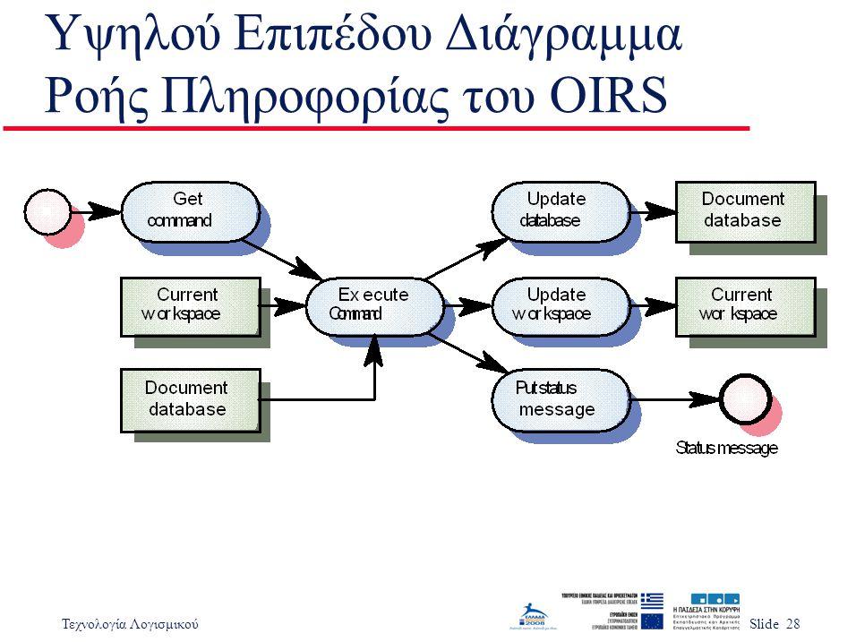 Τεχνολογία ΛογισμικούSlide 28 Υψηλού Επιπέδου Διάγραμμα Ροής Πληροφορίας του OIRS