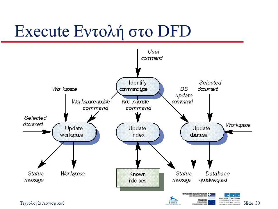 Τεχνολογία ΛογισμικούSlide 30 Execute Εντολή στο DFD