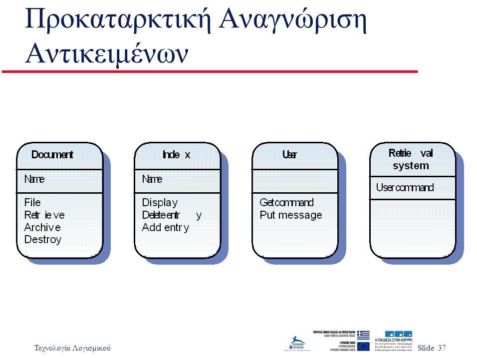 Τεχνολογία ΛογισμικούSlide 37 Προκαταρκτική Αναγνώριση Αντικειμένων