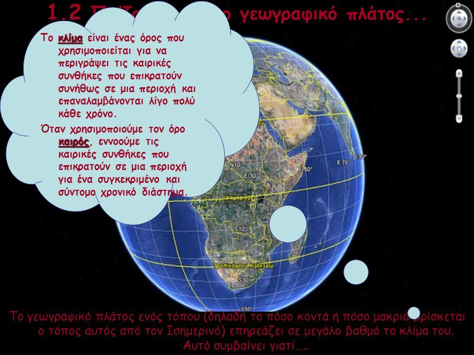 1.2 Παίζοντας με το γεωγραφικό πλάτος... Το γεωγραφικό πλάτος ενός τόπου (δηλαδή το πόσο κοντά ή πόσο μακριά βρίσκεται ο τόπος αυτός από τον Ισημερινό
