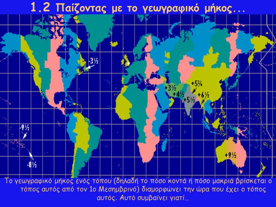 1.2 Παίζοντας με το γεωγραφικό μήκος... Το γεωγραφικό μήκος ενός τόπου (δηλαδή το πόσο κοντά ή πόσο μακριά βρίσκεται ο τόπος αυτός από τον 1ο Μεσημβρι
