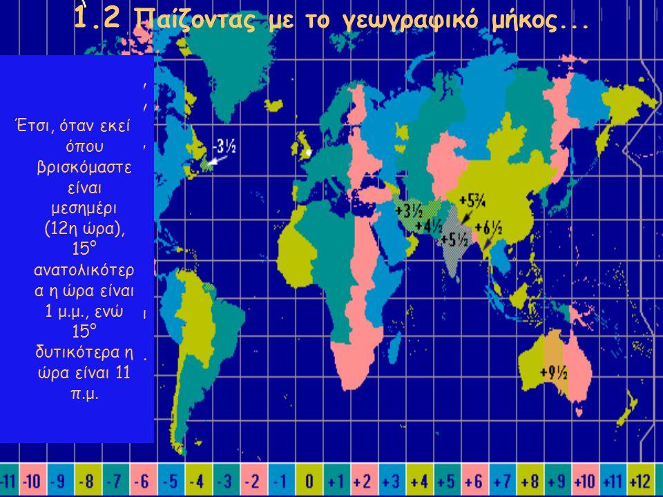 1.2 Παίζοντας με το γεωγραφικό μήκος... Για να βρούμε την ώρα που έχουν άλλοι τόποι, χωρίζουμε την επιφάνεια της Γης σε 24 ζώνες, που λέγονται ωριαίες