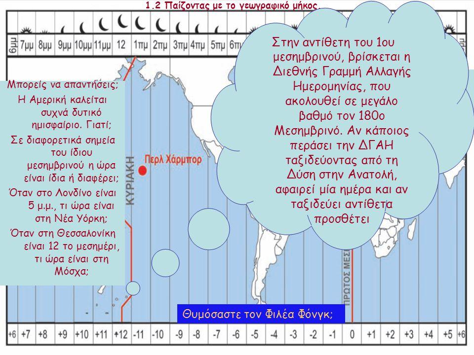 1.2 Παίζοντας με το γεωγραφικό μήκος... Μπορείς να απαντήσεις; Η Αμερική καλείται συχνά δυτικό ημισφαίριο. Γιατί; Σε διαφορετικά σημεία του ίδιου μεση