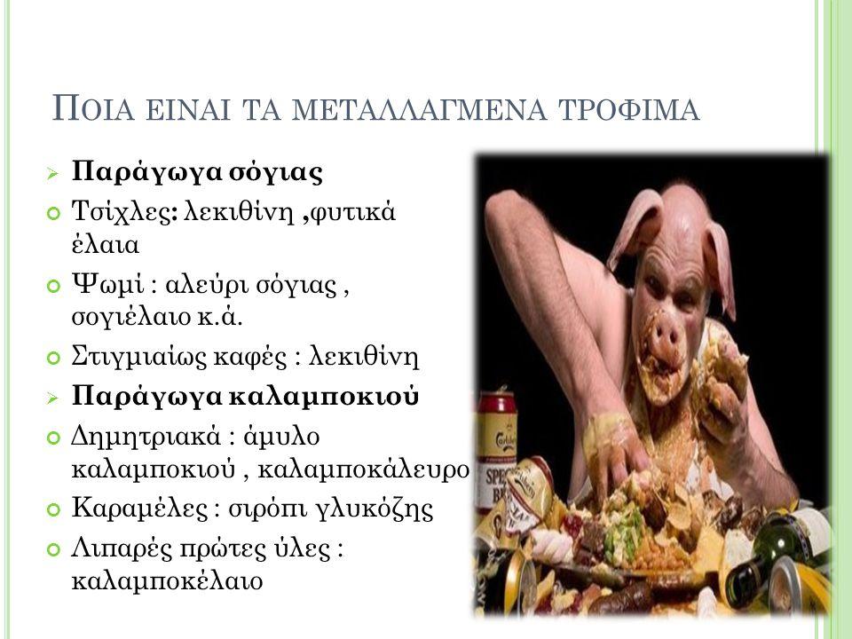 Π ΟΙΑ ΕΙΝΑΙ ΤΑ ΜΕΤΑΛΛΑΓΜΕΝΑ ΤΡΟΦΙΜΑ  Παράγωγα σόγιας Τσίχλες : λεκιθίνη, φυτικά έλαια Ψωμί : αλεύρι σόγιας, σογιέλαιο κ.ά.