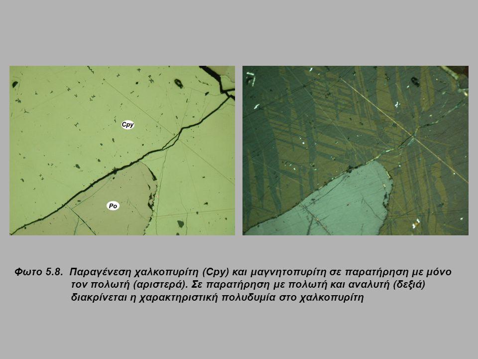 Φωτο 5.8. Παραγένεση χαλκοπυρίτη (Cpy) και μαγνητοπυρίτη σε παρατήρηση με μόνο τον πολωτή (αριστερά). Σε παρατήρηση με πολωτή και αναλυτή (δεξιά) διακ