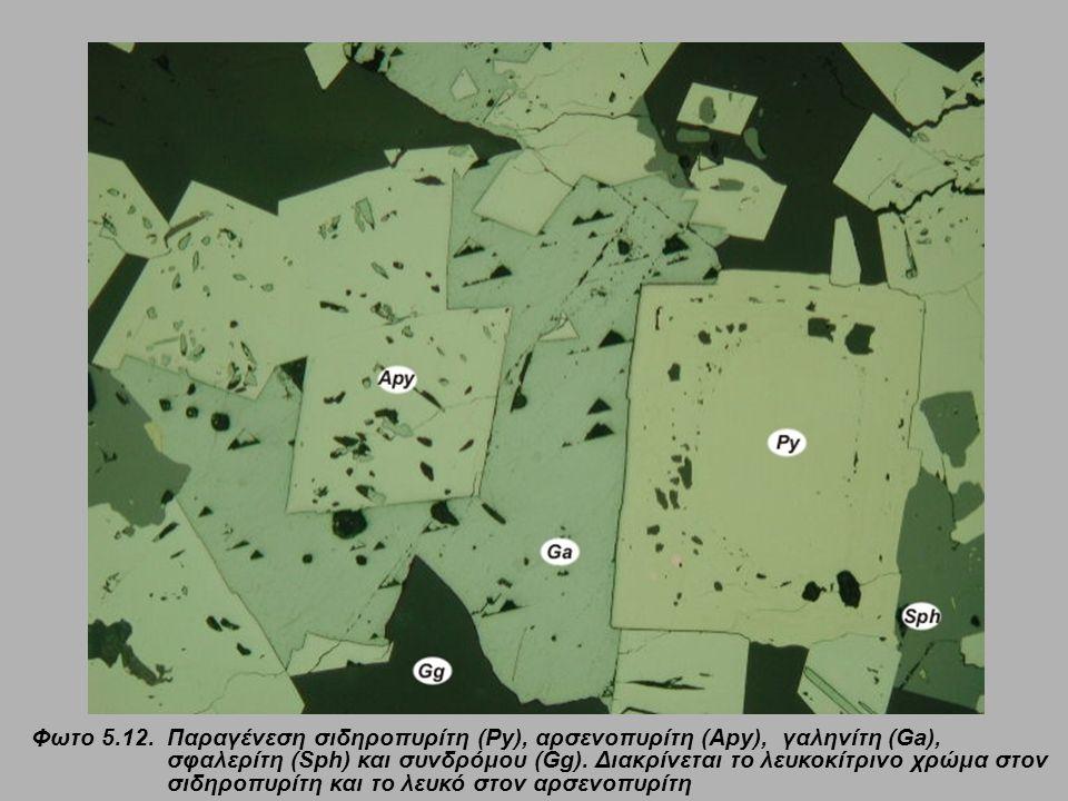 Φωτο 5.12. Παραγένεση σιδηροπυρίτη (Py), αρσενοπυρίτη (Apy), γαληνίτη (Ga), σφαλερίτη (Sph) και συνδρόμου (Gg). Διακρίνεται το λευκοκίτρινο χρώμα στον