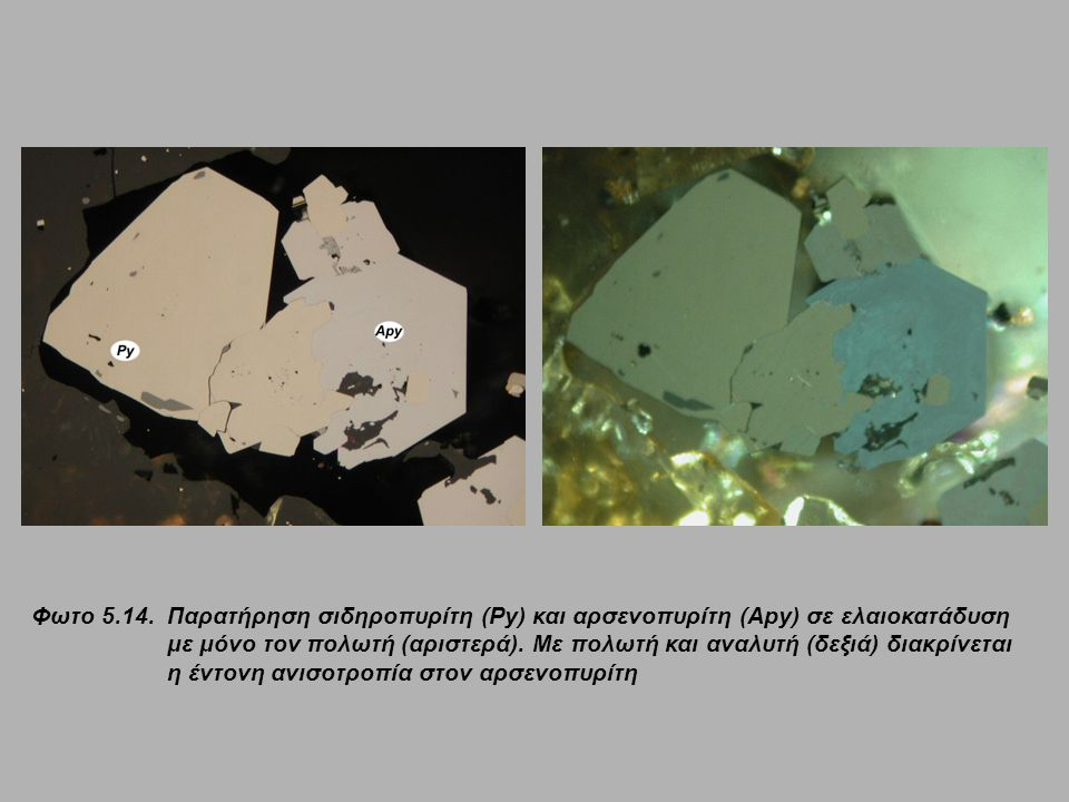 Φωτο 5.14. Παρατήρηση σιδηροπυρίτη (Py) και αρσενοπυρίτη (Apy) σε ελαιοκατάδυση με μόνο τον πολωτή (αριστερά). Με πολωτή και αναλυτή (δεξιά) διακρίνετ