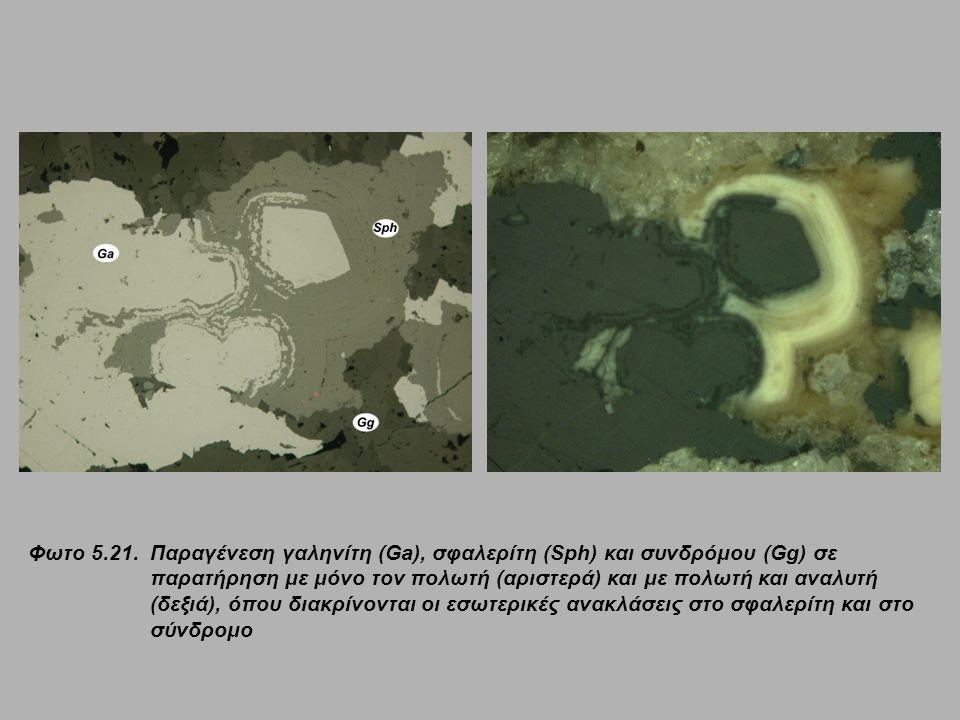 Φωτο 5.21. Παραγένεση γαληνίτη (Ga), σφαλερίτη (Sph) και συνδρόμου (Gg) σε παρατήρηση με μόνο τον πολωτή (αριστερά) και με πολωτή και αναλυτή (δεξιά),