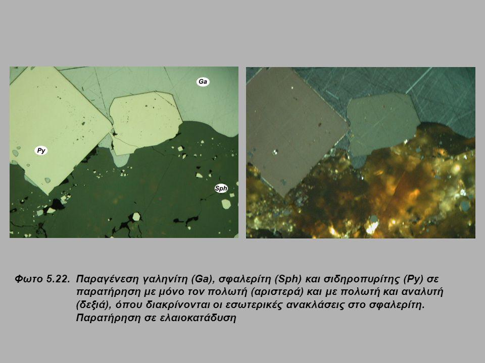 Φωτο 5.22. Παραγένεση γαληνίτη (Ga), σφαλερίτη (Sph) και σιδηροπυρίτης (Py) σε παρατήρηση με μόνο τον πολωτή (αριστερά) και με πολωτή και αναλυτή (δεξ