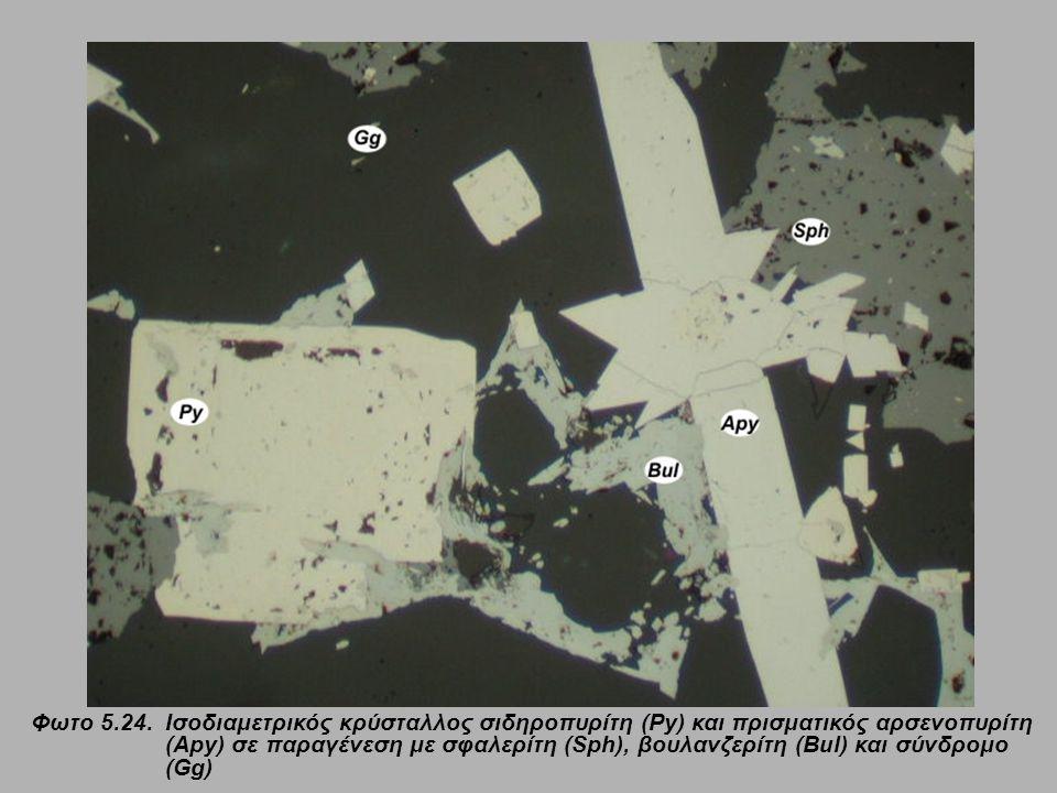 Φωτο 5.24. Ισοδιαμετρικός κρύσταλλος σιδηροπυρίτη (Py) και πρισματικός αρσενοπυρίτη (Apy) σε παραγένεση με σφαλερίτη (Sph), βουλανζερίτη (Bul) και σύν