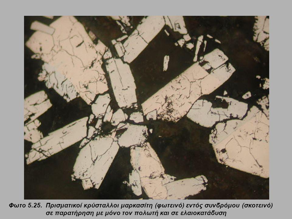 Φωτο 5.25. Πρισματικοί κρύσταλλοι μαρκασίτη (φωτεινό) εντός συνδρόμου (σκοτεινό) σε παρατήρηση με μόνο τον πολωτή και σε ελαιοκατάδυση