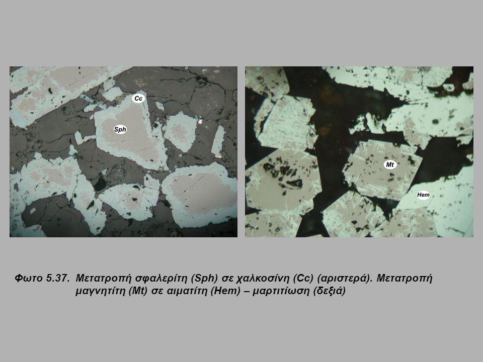 Φωτο 5.37. Μετατροπή σφαλερίτη (Sph) σε χαλκοσίνη (Cc) (αριστερά). Μετατροπή μαγνητίτη (Mt) σε αιματίτη (Hem) – μαρτιτίωση (δεξιά)