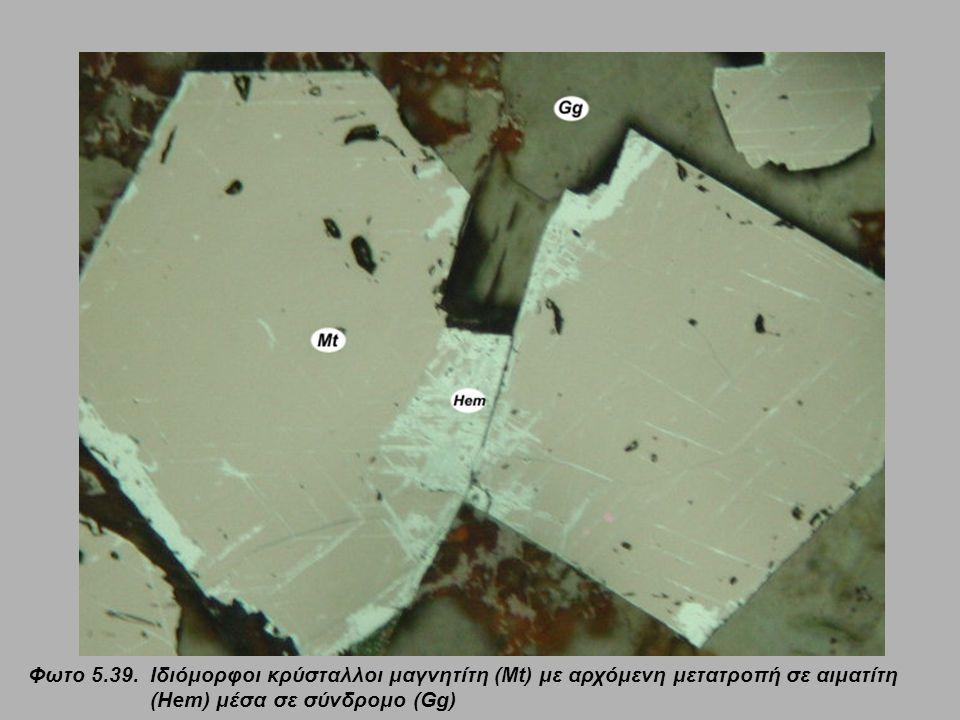 Φωτο 5.39. Ιδιόμορφοι κρύσταλλοι μαγνητίτη (Mt) με αρχόμενη μετατροπή σε αιματίτη (Hem) μέσα σε σύνδρομο (Gg)