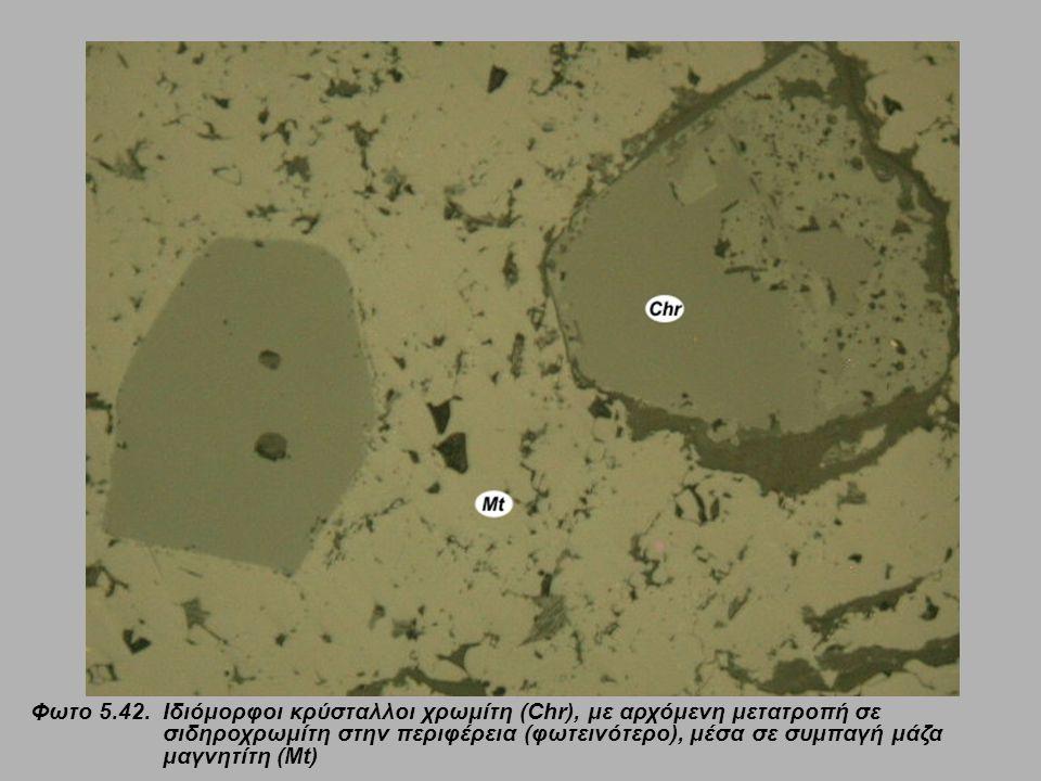 Φωτο 5.42. Ιδιόμορφοι κρύσταλλοι χρωμίτη (Chr), με αρχόμενη μετατροπή σε σιδηροχρωμίτη στην περιφέρεια (φωτεινότερο), μέσα σε συμπαγή μάζα μαγνητίτη (