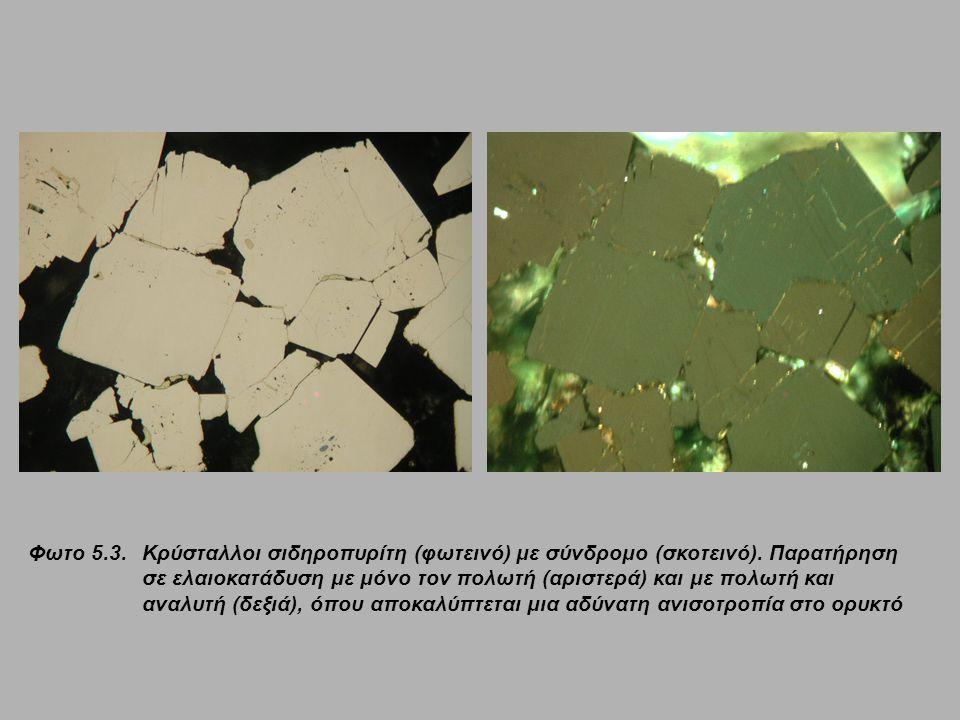 Φωτο 5.13.Κρύσταλλοι σιδηροπυρίτη (φωτεινό) με σύνδρομο (σκοτεινό).