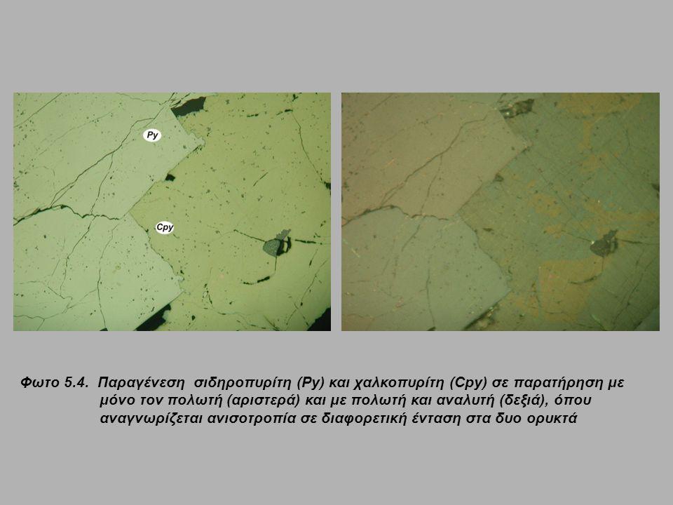 Φωτο 5.4. Παραγένεση σιδηροπυρίτη (Py) και χαλκοπυρίτη (Cpy) σε παρατήρηση με μόνο τον πολωτή (αριστερά) και με πολωτή και αναλυτή (δεξιά), όπου αναγν