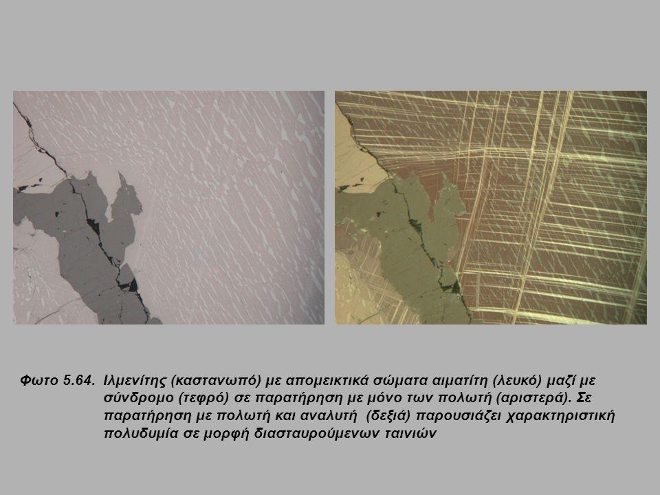 Φωτο 5.64. Ιλμενίτης (καστανωπό) με απομεικτικά σώματα αιματίτη (λευκό) μαζί με σύνδρομο (τεφρό) σε παρατήρηση με μόνο των πολωτή (αριστερά). Σε παρατ