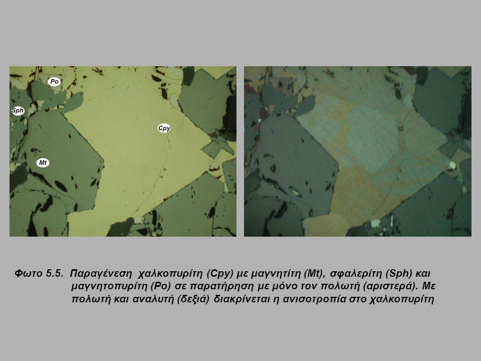 Φωτο 5.5. Παραγένεση χαλκοπυρίτη (Cpy) με μαγνητίτη (Mt), σφαλερίτη (Sph) και μαγνητοπυρίτη (Po) σε παρατήρηση με μόνο τον πολωτή (αριστερά). Με πολωτ