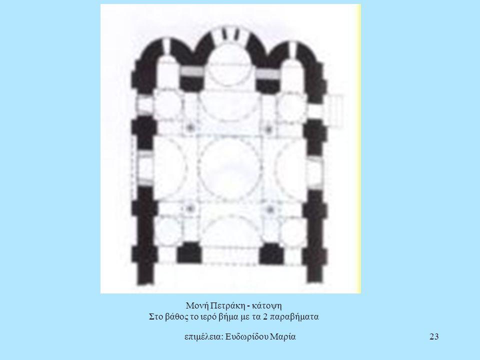 επιμέλεια: Ευδωρίδου Μαρία23 Μονή Πετράκη - κάτοψη Στο βάθος το ιερό βήμα με τα 2 παραβήματα