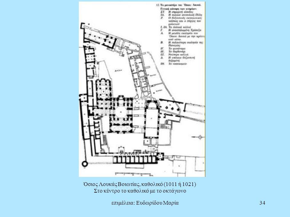 επιμέλεια: Ευδωρίδου Μαρία34 Όσιος Λουκάς Βοιωτίας, καθολικό (1011 ή 1021) Στο κέντρο το καθολικό με το οκτάγωνο