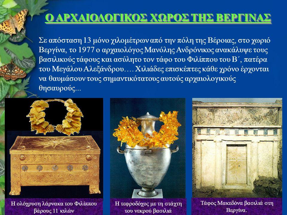 Ο ΑΡΧΑΙΟΛΟΓΙΚΟΣ ΧΩΡΟΣ ΤΗΣ ΒΕΡΓΙΝΑΣ Σε απόσταση 13 μόνο χιλομέτρων από την πόλη της Βέροιας, στο χωριό Βεργίνα, το 1977 ο αρχαιολόγος Μανόλης Ανδρόνικος ανακάλυψε τους βασιλικούς τάφους και ασύλητο τον τάφο του Φιλίππου του Β΄, πατέρα του Μεγάλου Αλεξάνδρου….