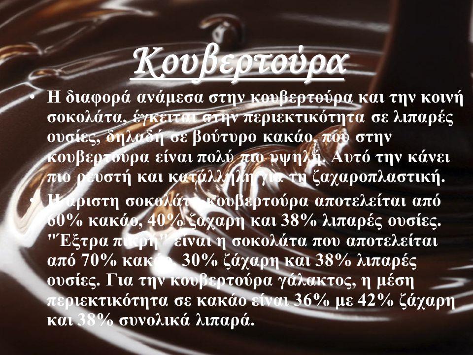 Κουβερτούρα Η διαφορά ανάμεσα στην κουβερτούρα και την κοινή σοκολάτα, έγκειται στην περιεκτικότητα σε λιπαρές ουσίες, δηλαδή σε βούτυρο κακάο, που στ