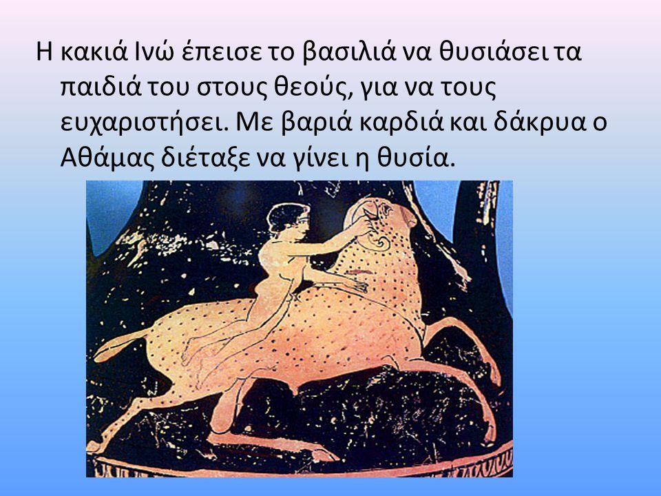 Η κακιά Ινώ έπεισε το βασιλιά να θυσιάσει τα παιδιά του στους θεούς, για να τους ευχαριστήσει. Με βαριά καρδιά και δάκρυα ο Αθάμας διέταξε να γίνει η
