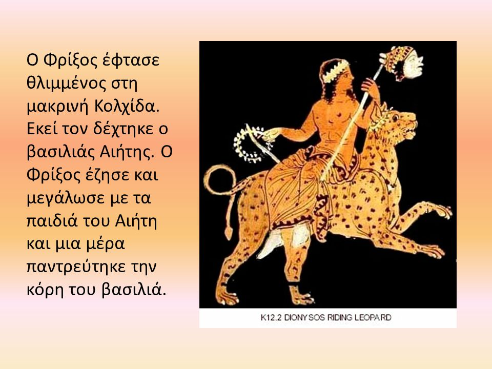 Ο Φρίξος έφτασε θλιμμένος στη μακρινή Κολχίδα. Εκεί τον δέχτηκε ο βασιλιάς Αιήτης. Ο Φρίξος έζησε και μεγάλωσε με τα παιδιά του Αιήτη και μια μέρα παν