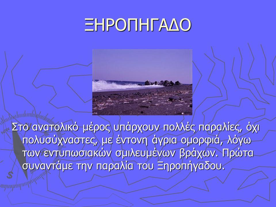 ΞΗΡΟΠΗΓΑΔΟ Στο ανατολικό μέρος υπάρχουν πολλές παραλίες, όχι πολυσύχναστες, με έντονη άγρια ομορφιά, λόγω των εντυπωσιακών σμιλευμένων βράχων.