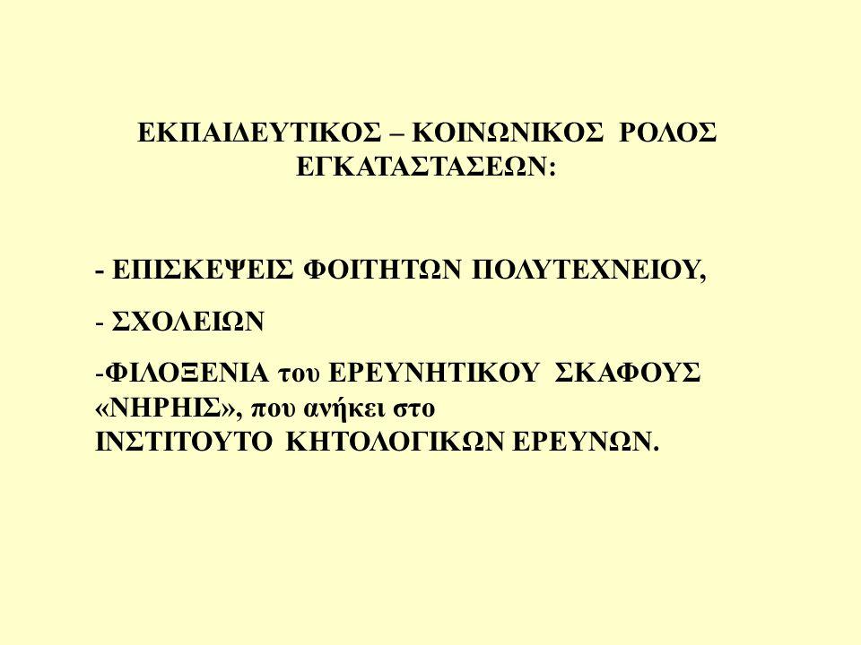ΕΚΠΑΙΔΕΥΤΙΚΟΣ – ΚΟΙΝΩΝΙΚΟΣ ΡΟΛΟΣ ΕΓΚΑΤΑΣΤΑΣΕΩΝ: - ΕΠΙΣΚΕΨΕΙΣ ΦΟΙΤΗΤΩΝ ΠΟΛΥΤΕΧΝΕΙΟΥ, - ΣΧΟΛΕΙΩΝ -ΦΙΛΟΞΕΝΙΑ του ΕΡΕΥΝΗΤΙΚΟΥ ΣΚΑΦΟΥΣ «ΝΗΡΗΙΣ», που ανήκει στο ΙΝΣΤΙΤΟΥΤΟ ΚΗΤΟΛΟΓΙΚΩΝ ΕΡΕΥΝΩΝ.