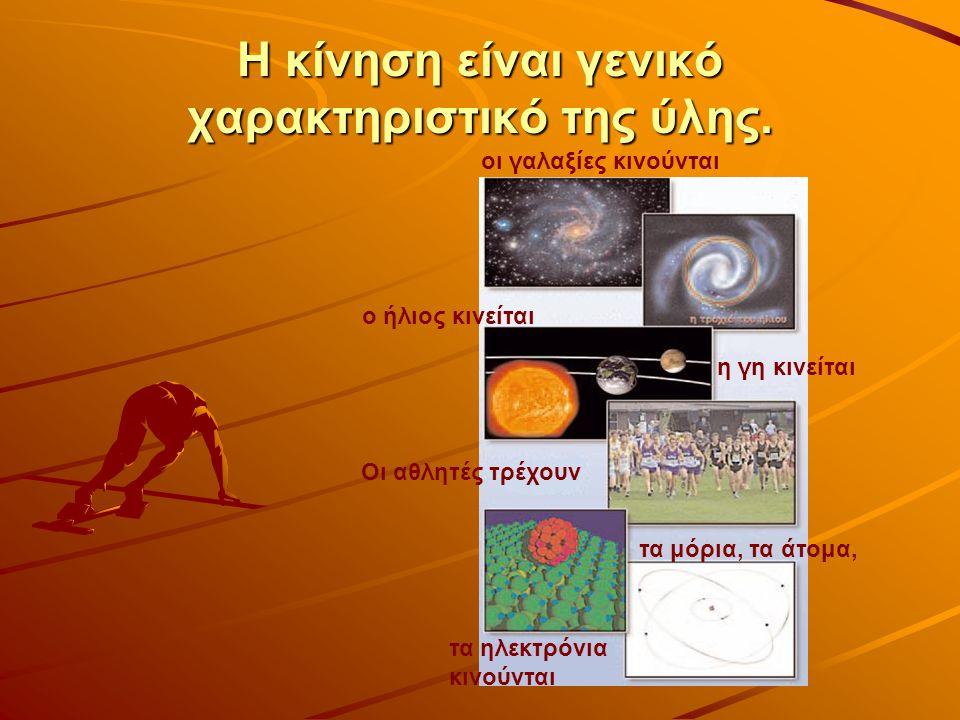 Η κίνηση είναι γενικό χαρακτηριστικό της ύλης. ο ήλιος κινείται Οι αθλητές τρέχουν οι γαλαξίες κινούνται η γη κινείται τα μόρια, τα άτομα, τα ηλεκτρόν