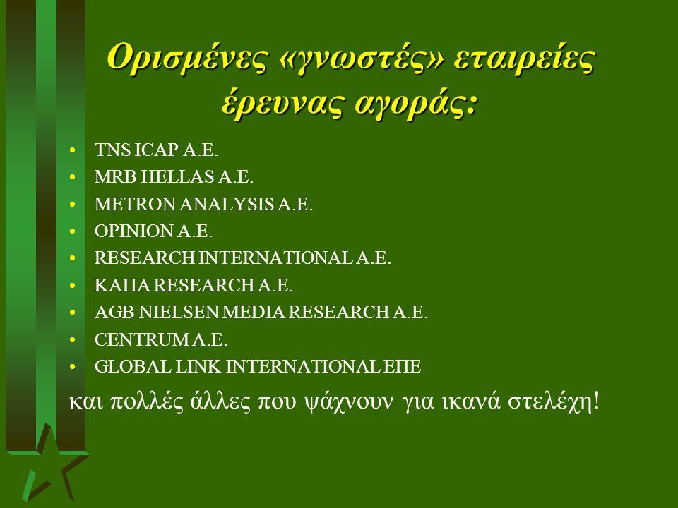 Ορισμένες «γνωστές» εταιρείες έρευνας αγοράς: TNS ICAP A.E. MRB HELLAS A.E. METRON ANALYSIS Α.Ε. OPINION Α.Ε. RESEARCH INTERNATIONAL A.E. ΚΑΠΑ RESEARC