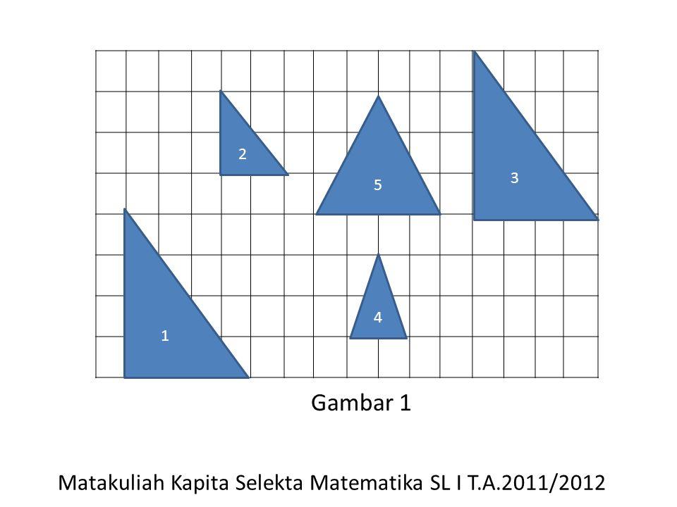 dari gambar 1 diperoleh: segitiga 1 konruen dengan segitiga 3.