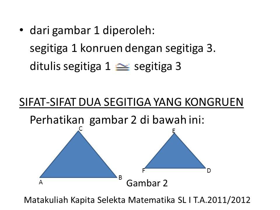 dari gambar 1 diperoleh: segitiga 1 konruen dengan segitiga 3. ditulis segitiga 1 segitiga 3 SIFAT-SIFAT DUA SEGITIGA YANG KONGRUEN Perhatikan gambar