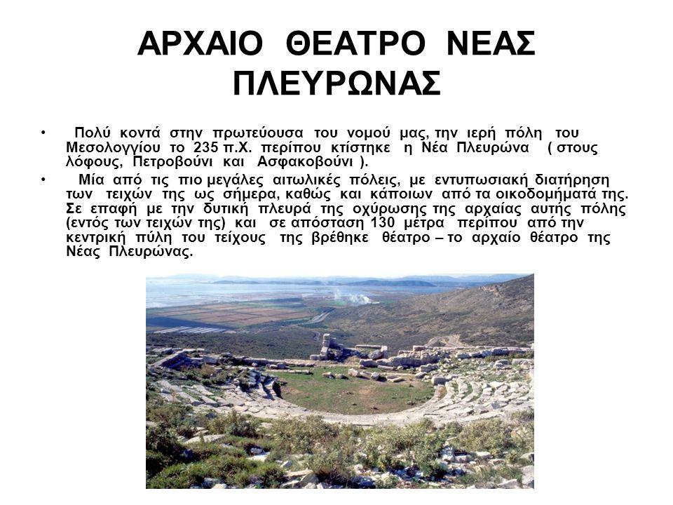 ΑΡΧΑΙΟ ΘΕΑΤΡΟ ΝΕΑΣ ΠΛΕΥΡΩΝΑΣ Πολύ κοντά στην πρωτεύουσα του νομού μας, την ιερή πόλη του Μεσολογγίου το 235 π.Χ. περίπου κτίστηκε η Νέα Πλευρώνα ( στο