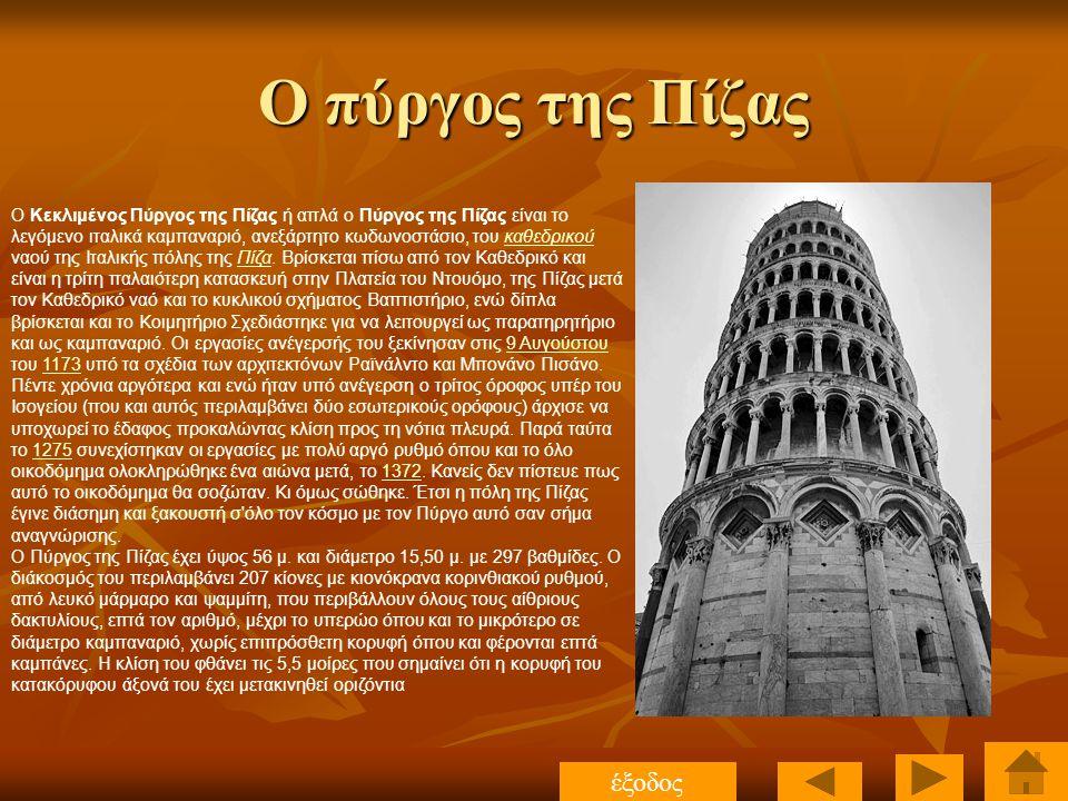 Ο πύργος της Πίζας O Κεκλιμένος Πύργος της Πίζας ή απλά ο Πύργος της Πίζας είναι το λεγόμενο ιταλικά καμπαναριό, ανεξάρτητο κωδωνοστάσιο, του καθεδρικ