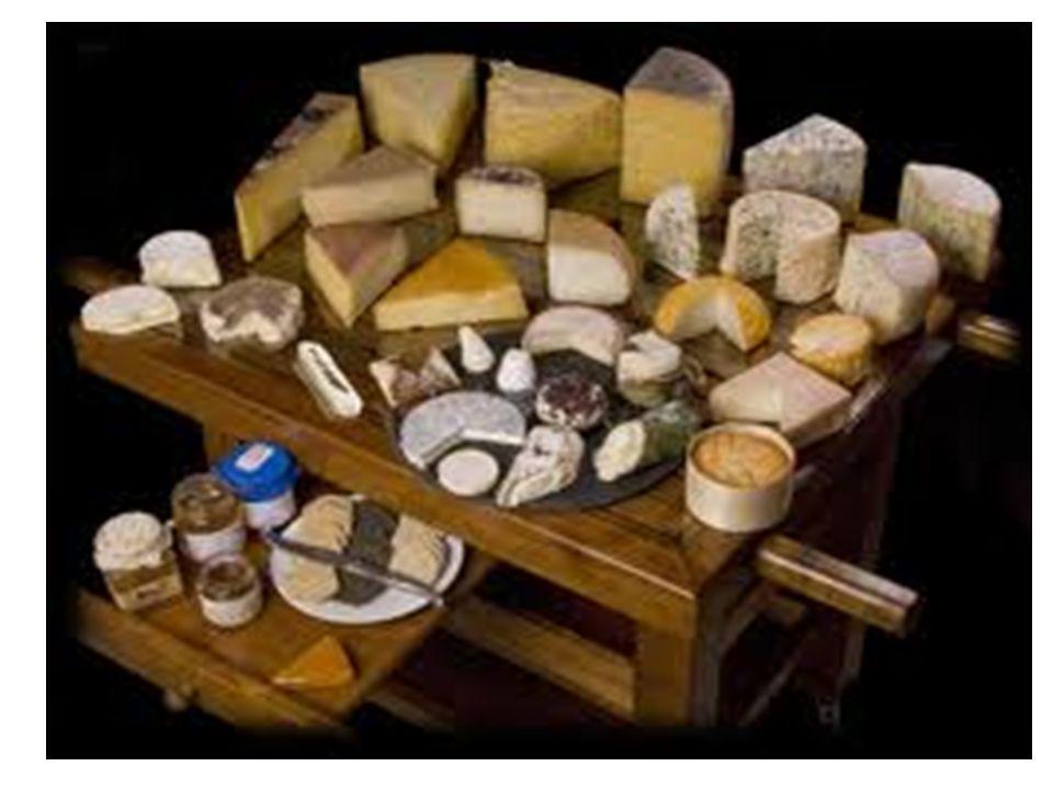 Γαλακτοκομικά προϊόντα – Τυριά Γαλακτοκομικά προϊόντα είναι προϊόντα που έχουν ως κύριο συστατικό το γάλα Τέτοια προϊόντα είναι: – Το τυρί – Το γιαούρτι – Η κρέμα γάλακτος – Το βούτυρο Τυριά είναι τα φρέσκα ή ώριμα προϊόντα από το πήξιμο του γάλακτος Μερικά τυριά γίνονται από κρέμα γάλακτος αντί γάλα Το πήξιμο του γάλακτος προκαλούν ζυμομύκητες Ταξινόμηση των τυριών Βαθμός ωρίμανσης – Φρέσκα – Ώριμα Σκληρότητα – Μαλακά – Σκληρά – Ημίσκληρα Προέλευση – Ντόπια – Ξένα Επιπρόσθετη επεξεργασία – Καπνιστά – Με μούχλα – Εμπλουτισμένα – Με τρύπες 3